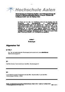 - 1 - Artikel 1 Änderungen. Der Text den weiterbildenden Studiengang wird ersetzt durch das weiterbildende Masterstudienprogramm