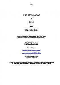 - 1 - The Revelation. John. part of. The Holy Bible