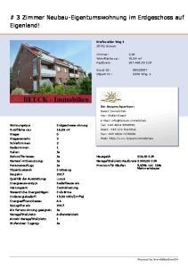 # 3 Zimmer Neubau-Eigentumswohnung im Erdgeschoss auf Eigenland!