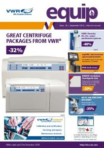-32% GREAT CENTRIFUGE PACKAGES FROM VWR -40% -20% -35%  Offers valid until 31st December 2016