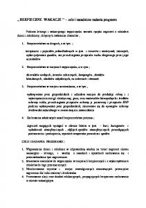 ,, BEZPIECZNE WAKACJE - cele i zasadnicze zadania programu