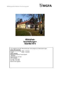 -Bibliothek- Neuerwerbungen Dezember 2010