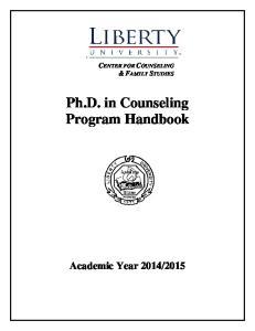 ` CENTER FOR COUNSELING & FAMILY STUDIES. Ph.D. in Counseling Program Handbook