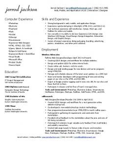!!!! Computer Experience. Skills and Experience. Employment. Education