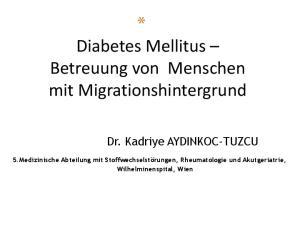 * Diabetes Mellitus Betreuung von Menschen mit Migrationshintergrund