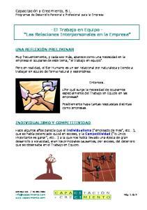 - El Trabajo en Equipo - Las Relaciones Interpersonales en la Empresa
