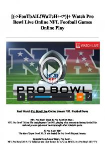 [(->FooTbAlL!WaTcH+<*)]+ Watch Pro Bowl Live Online NFL Football Games Online Play