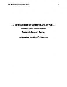 ~~ GUIDELINES FOR WRITING APA STYLE ~~