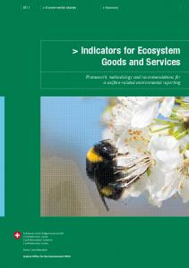 > Indicators for Ecosystem Goods and Services