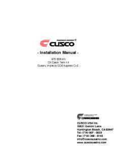 - Installation Manual -