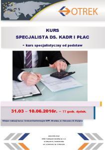 - kurs specjalistyczny od podstaw