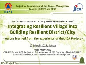 - lessons learned from the experience of the JICA Project -