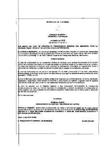 ~~ MEDIO DEL CUAL SE APRUEBA EL PRESUPUESTO ClENERAL DEL MUNICIPIO, PARA LA IGENCIA FISCAL D! 2012 Y SE DteTAN OTRAS DISPOSICIONES