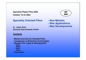 - New Applications - New Developments