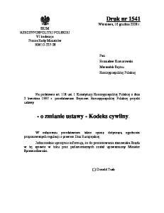 - o zmianie ustawy - Kodeks cywilny