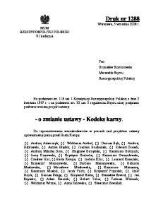 - o zmianie ustawy - Kodeks karny