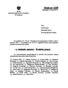 - o zmianie ustawy - Kodeks pracy