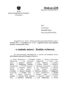 - o zmianie ustawy - Kodeks wyborczy