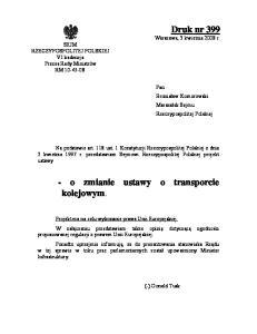 - o zmianie ustawy o transporcie kolejowym
