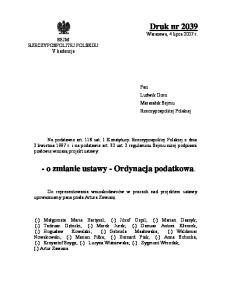 - o zmianie ustawy - Ordynacja podatkowa