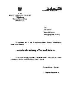 - o zmianie ustawy - Prawo lotnicze