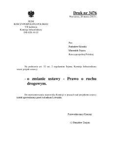 - o zmianie ustawy - Prawo o ruchu drogowym