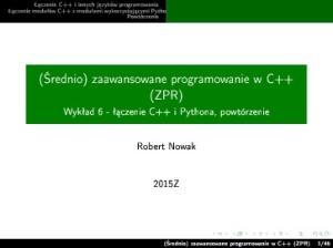 ( rednio) zaawansowane programowanie w C++ (ZPR)