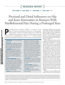 [ RESEARCH REPORT ] Proximal and Distal Influences on Hip and Knee Kinematics in Runners With Patellofemoral Pain During a Prolonged Run