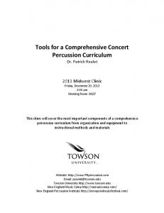 !! Tools!for!a!Comprehensive!Concert! Percussion!Curriculum! Dr.$Patrick$Roulet$