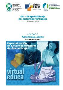04 - El aprendizaje en entornos virtuales. UNIDAD 2 Aprendizaje adulto