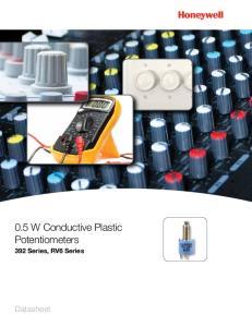 0.5 W Conductive Plastic Potentiometers. 392 Series, RV6 Series. Datasheet