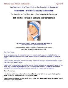 050 Madre Teresa de Calcuta y Garabandal. 050 Mother Teresa of Calcutta and Garabandal
