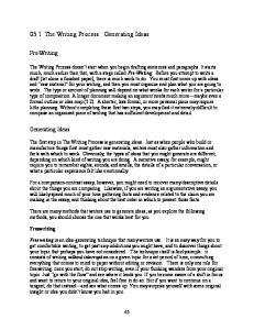 05.1 The Writing Process: Generating Ideas