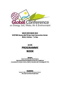 08-09 NOVEMBER 2013 SENTIDO Zeynep Golf & Spa Hotel Convention Center Belek, Antalya Turkey. (draft) PROGRAMME BOOK
