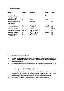 1 (3) mean ionic molality m± m± (v +v ) + -