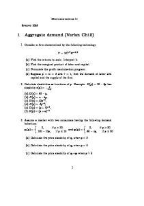 1 Aggregate demand (Varian Ch15)