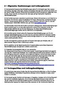 1 Allgemeine Bestimmungen und Geltungsbereich