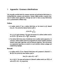 1 Appendix: Common distributions