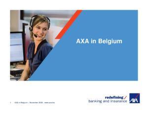 1 AXA in Belgium November AXA in Belgium
