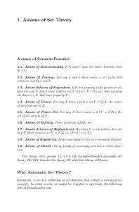 1. Axioms of Set Theory