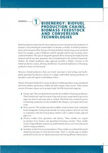 1 BIOENERGY: BIOFUEL PRODUCTION CHAINS, BIOMASS FEEDSTOCK AND CONVERSION TECHNOLOGIES ANNEX