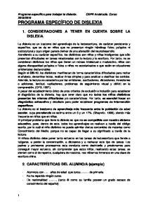 1. CONSIDERACIONES A TENER EN CUENTA SOBRE LA DISLEXIA