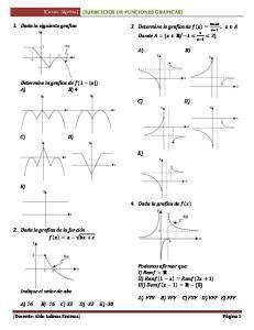 1. Dada la siguiente grafica. 3. Determine la grafica de Donde A) B) Determine la grafica de A) B) 4 C) D) C) D) 4. Dada la grafica de