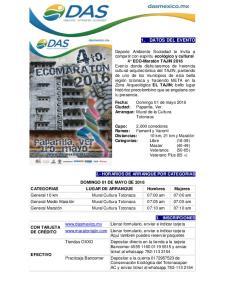 1. DATOS DEL EVENTO 2.- HORARIOS DE ARRANQUE POR CATEGORIAS