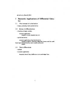 1 Economic Applications of Differential Calculus