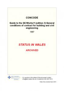 1 (edition 3) General conditions of contract for building and civil engineering STATUS IN WALES ARCHIVED