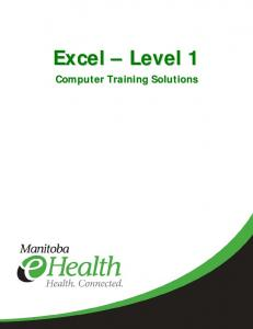 1. Excel Basics The Excel Program Workbook Environment