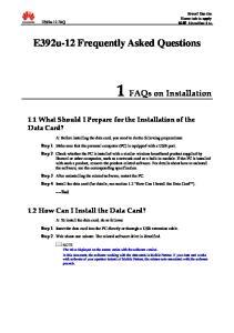 1 FAQs on Installation