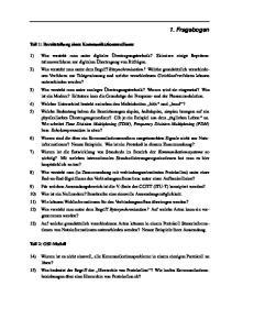 1. Fragebog en. Teil 1: Bereitstellung eines Kommunikationsmediums