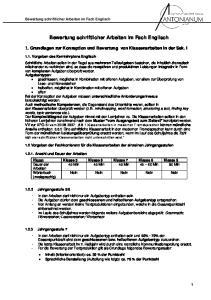 1. Grundlagen zur Konzeption und Bewertung von Klassenarbeiten in der Sek. I